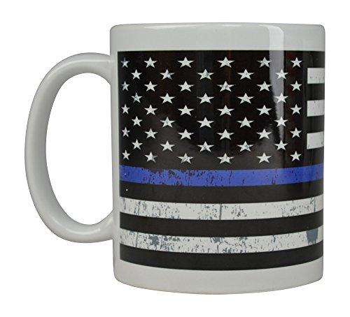 Best Blue Coffee Mug Blue Lives Matter Flag Thin Blue Line Novelty Cup Great Gift Idea For Police Officer Law Enforcement PD Large Flag
