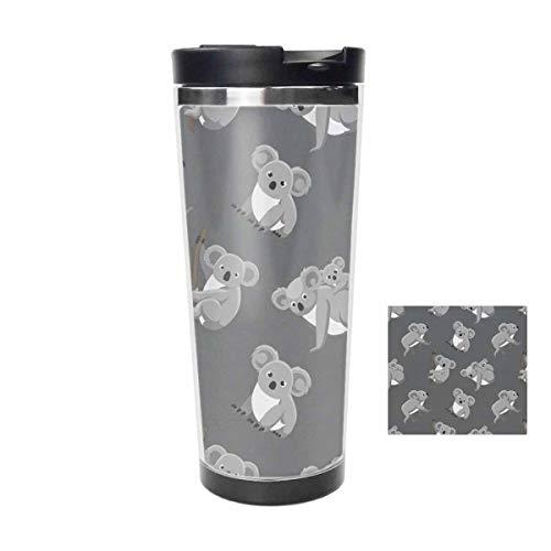 14oz Tumbler Stainless Steel Vacuum Tumbler Travel Mug - Cute Koala Grey coffee mug cup - Thermal Cup with Splash Proof Sliding Lid