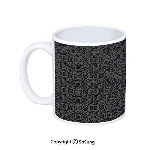 Dark Grey Coffee MugBaroque Venetian Flower Motifs Medieval Ornate Mosaic Gothic Design ElementsPrinted Ceramic Coffee Cup Water Tea Drinks CupBlack Grey