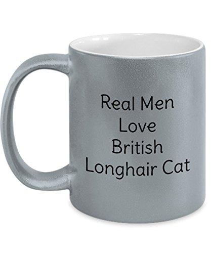 Diluted Calico Cat Silver Mug - Real Men Love Diluted Calico Cat - Gift For Men Who Love Cat - Metallic 11oz Grey Coffee Mug