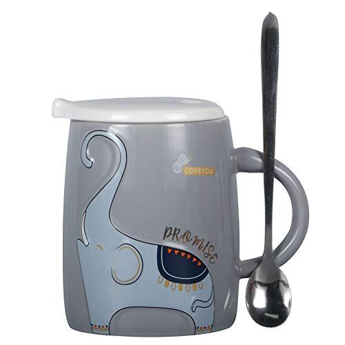 EPFamily Cute Ceramic Mug Cartoon Animal Relief Elephant Coffee Mug With Lid And Spoon Gift For WomenFriendsFamily169ozGrey