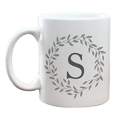 GiftsForYouNow Personalized Wreath With Initial Coffee Mug Grey