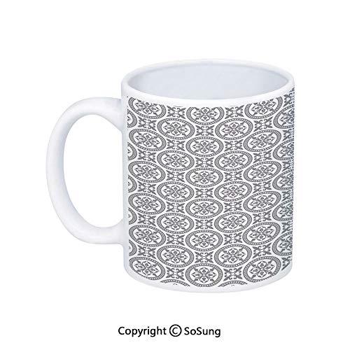 Grey Coffee MugAntique Oriental Floral Motifs Ethnic Retro Pattern in Modern Graphic Style Boho Art DecorativePrinted Ceramic Coffee Cup Water Tea Drinks CupGray White