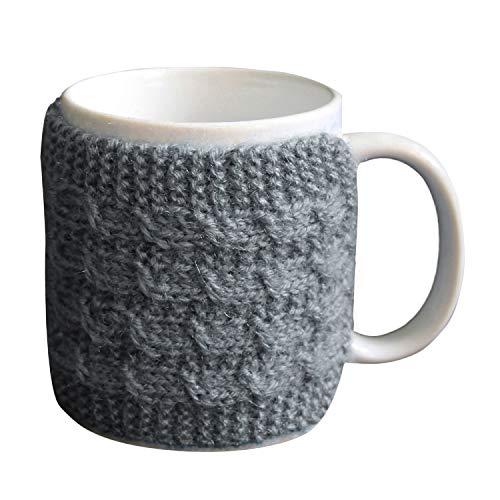 Handmade Grey Coffee Mug Cozy Sleeve Knitted Cup Warmer Woolen Wool Hand Protector Drink Grip Tea Sleeve Drinkware Bar Accessories Gift Mug Hug
