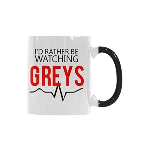 Id Rather Be Watching Greys Coffee Mug Funny Mug Morphing Changing Color Heat Reveal Tea Cup 11oz
