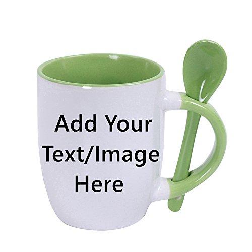 Custom Ceramic Coffee Mugs With Spoons - 10 Ounce -Personalization Tea Cup Mug Creative Gifts -Green