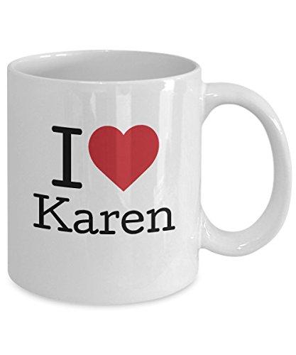 2V-YWC - Best Personalized Gifts Mug - I Love Karen Coffee Mug Tea Cup Ceramic 11 oz White - Gifts for Women Mom Girlfriend Wife Grandma Sister