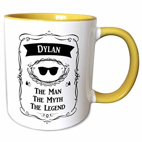 3dRose InspirationzStore The Man The Myth The Legend - Dylan - The Man The Myth The Legend - personal name personalized gift - 11oz Two-Tone Yellow Mug mug_232278_8
