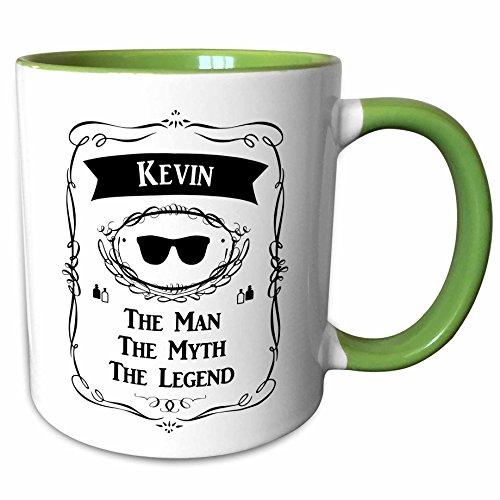 3dRose InspirationzStore The Man The Myth The Legend - Kevin - The Man The Myth The Legend - personal name personalized gift - 11oz Two-Tone Green Mug mug_232322_7