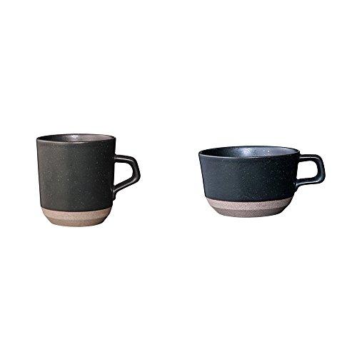 KINTO CLK-151 Large Black Porcelain Mug and Wide Mug Set of 2