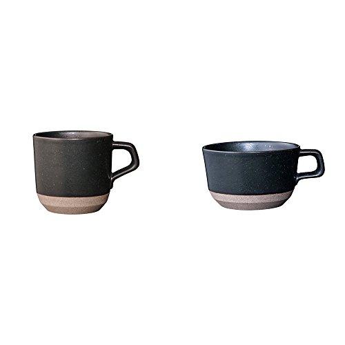 KINTO CLK-151 Small Black Porcelain Mug and Wide Mug Set of 2