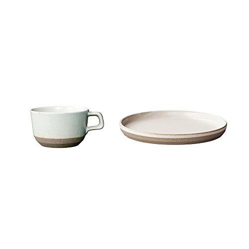 KINTO CLK-151 White Porcelain 63 inch Plate and Wide Mug Set of 2