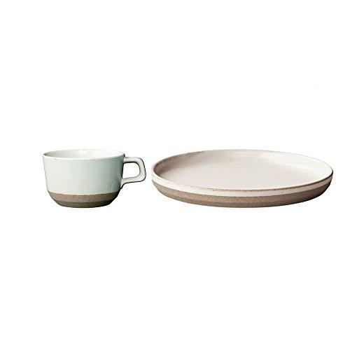 KINTO CLK-151 White Porcelain 98 inch Plate and Wide Mug Set of 2