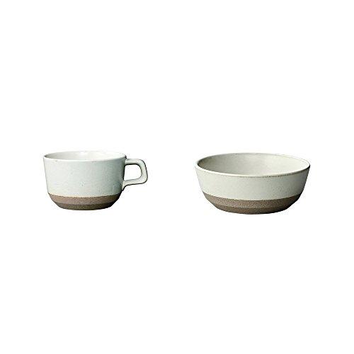 KINTO CLK-151 White Porcelain Bowl and Wide Mug Set of 2