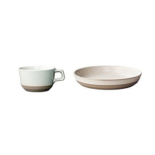 KINTO CLK-151 White Porcelain Deep Plate and Wide Mug Set of 2