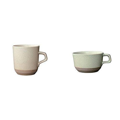 KINTO CLK-151 Wide and Large Beige Porcelain Mug Set of 2