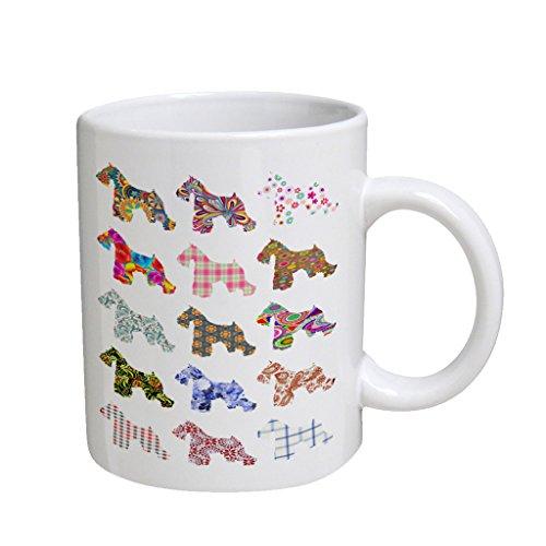 Schnauzer Dog Pattern Large White Coffee Cup Mug