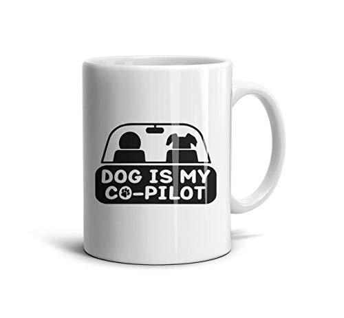 DoorSignHHH Dog is My Co Pilot Simple Coffee Mug Vintage White Ceramic Daily Use Reusable Coffee Ravel Mugs