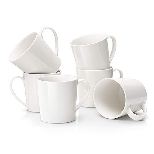 DOWAN Coffee Mug Set 18oz Large Handle Coffee Mug Set of 6 Ceramic Mug for Coffee Tea Cocoa and Mulled Drinks Ivory