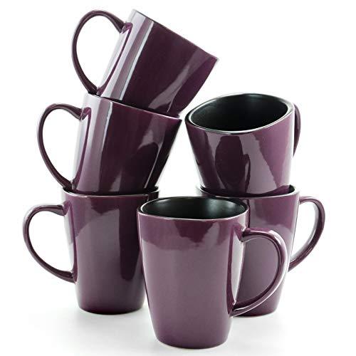 Elama Mulberry Loft 16 Ounce Stoneware Soft Square Coffee and Tea Mug set 6 Piece Solid Purple