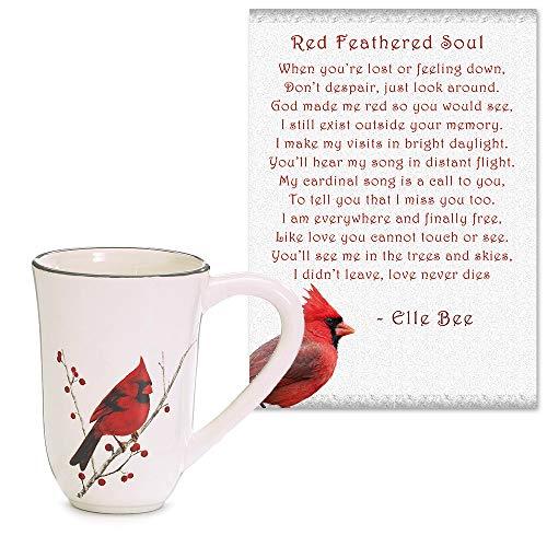 Lola Bella Gifts and Burton and Burton Cardinal Coffee Mug and Red Feathered Soul Poem Gift Set