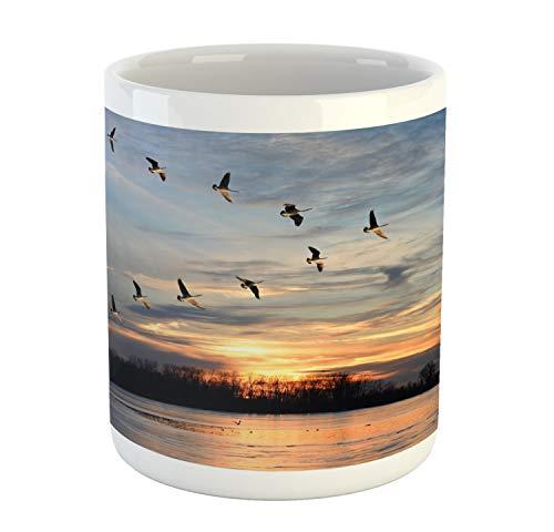 Lunarable Flying Birds Mug Scene of Canadian Geese Flying as V over Lake in Sunset Ceramic Coffee Mug Cup for Water Tea Drinks 11 oz Orange Blue