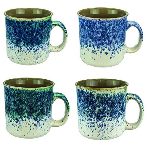 Mug Set of 4 Coffee Mugs - 16 Ounces Ceramic Beautiful Splattered Hand Painted Cofee Mugs and Tea Cups Set of 4