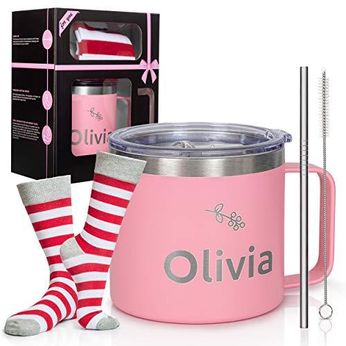 Olivia 14 Ounces Double Wall Vacuum Rambler Insulated Stainless Steel Coffee Travel Mug Tumbler 5 Pieces Set Bundle Novelty Socks Funny Mug My Awesome Kid Bought Me This Mug Sakura Pink