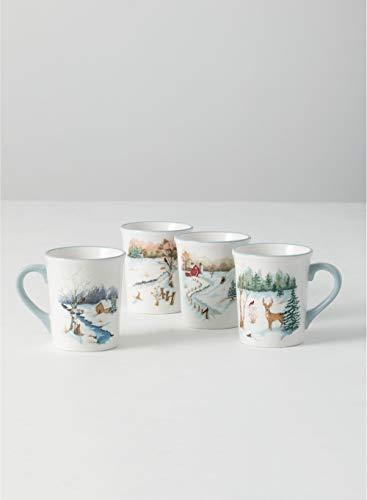 Sullivans Festive Winter Scene Large 20 oz Hand Designed Coffee Mugs- Set of 4 DOT187