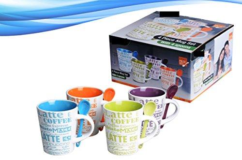8 Piece Ceramic Deluxe 12oz CoffeeTea Mug Set - Latte
