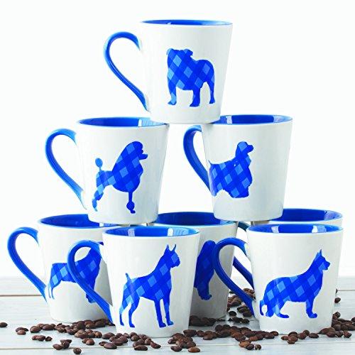 Blue Plaid Ceramic Coffee Mugs Set – Dog Design 16 OZ Ceramic Coffee Cups Set 6