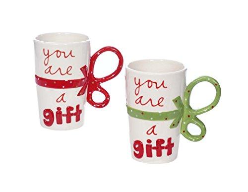 Sandra Magsamen Youre a Gift 10 Ounce Christmas Ceramic Coffee Mugs Set of 2