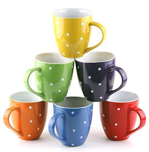 US Shopee LLP 11 Oz Ceramic coffee Mug set of 6with Stand  Ploka dot coffee mug  Multi colour coffee mug  Git Mug Polka Dots