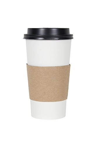 CucinaPrime White Paper Coffee Hot Cups with Black Travel Lids and Sleeves - 20 Ounce 100 Count