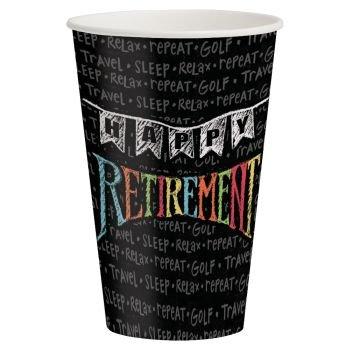 Retirement Chalk 12oz Paper Cups 8 Per Pack