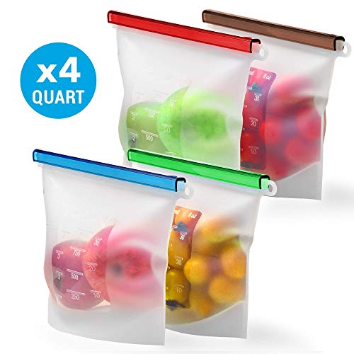 Reusable Silicone Food Storage Bag Set KivaWorld - 4 QUART Reusable Produce Sandwich Bags - Freezer Bags with Airtight Seal - Hermetic Food Bag - Cooking Sous Vide Bags Clear - Fresh Lunch Snack