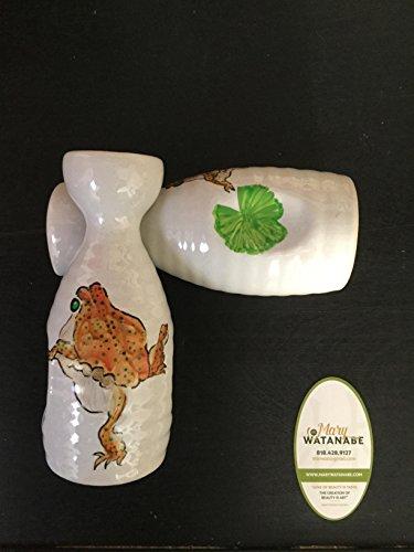Japanese Sake BottleVase--Hand Painted FrogToad or CraneKoi Gift 4 BirthdayHolidayAnniversaryFatherMotherHouse WarmingBest Friend