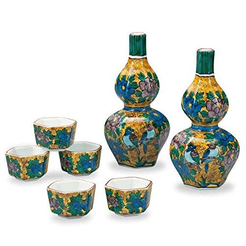 Japanese drawn Ceramic Porcelain kutani ware Japanese sake bottle tokkuri and sake cup guinomi set with wooden box Japanese ceramic Hagiyakiya 716