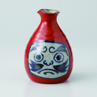 Japanese porcelain Hasami ware hukudaruma red sake bottles hsm-J39-13333