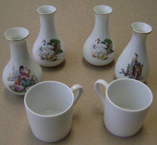 6 Piece Japanese Porcelain Sake Set - Sake NOT included