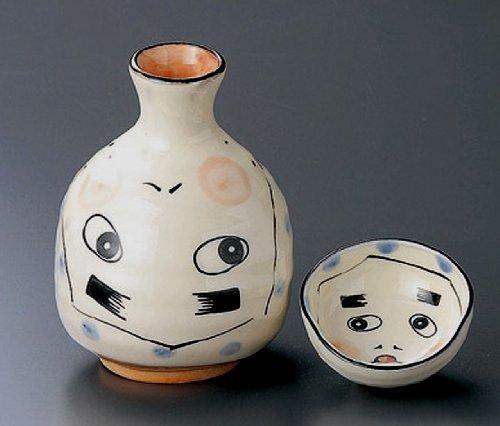 HYOTTOKO-CLOWNISH-MASK Tohki Japanese Pottery SAKE Set