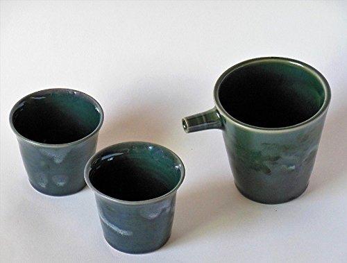 Handmade Ceramic Sake Set Green Sake Carafe Set Pottery Sake Bottle Cup