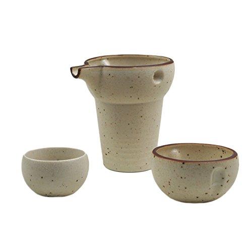 Mino-yaki Japanese Pottery Sake Set 6 oz Sake Carafe Guinomi Sake Cup - White Matte Finish Japanese Crafts Sakura