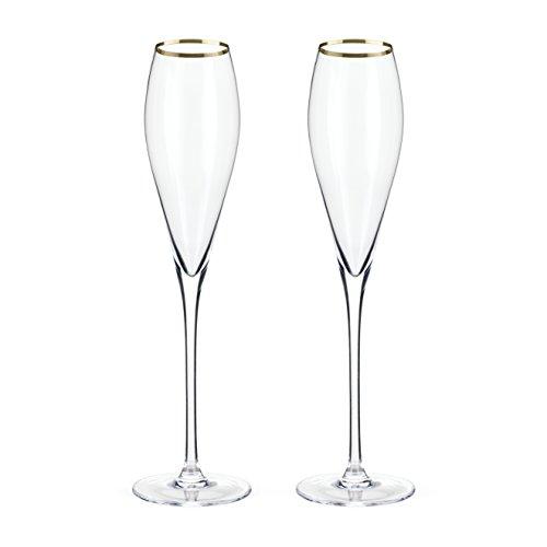 Belmont Gold Rimmed Crystal Champagne Flutes by Viski Set of 2 Rosé Prosecco glasses