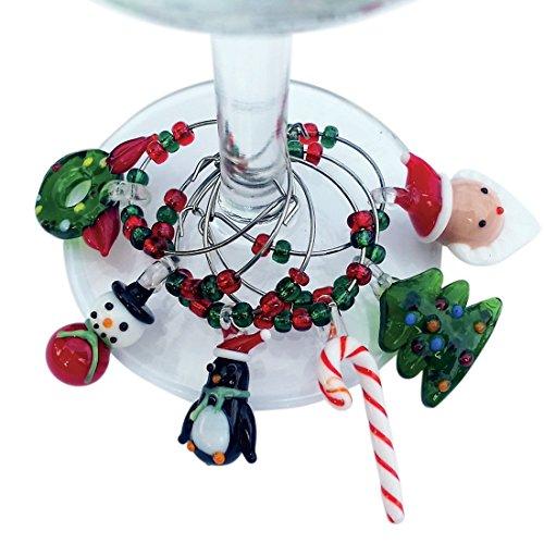 Christmas Wine Glass Charms - Santa Christmas Themed Wine Glass Markers Wine Glass Tags Drink Markers Wine Favors