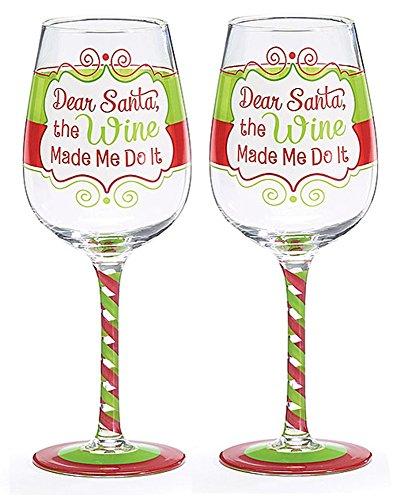 Dear Santa the Wine Made Me Do It 12oz Christmas Wine Glasses Set of 2
