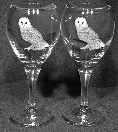 Muddy Creek Reflection Barn Owl Laser Etched Wine Glass Set 2 TDW