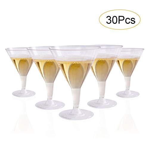 30PCS Plastic Martini Glasses Uspacific Clear 7 OZ Disposable Cocktail Glasses Plastic Plastic Cocktail Glasses for Weddings Parties Picnic Supplies