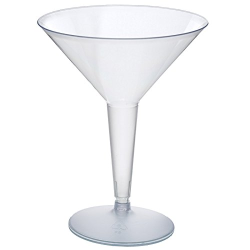 Tableclothsfactory 50 Pcs - Clear 8oz Disposable Plastic Martini Glass - Crystal Collection