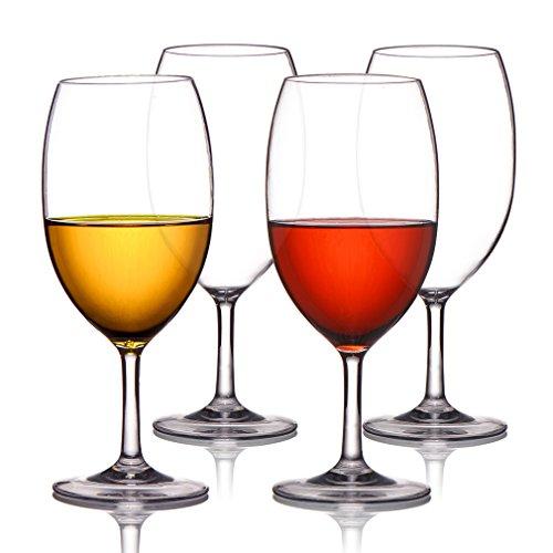 MICHLEY Unbreakable Wine Glasses 100 Tritan Plastic Shatterproof Wine Glasses BPA-free Dishwasher-safe 185 oz Set of 4